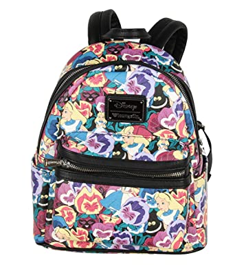 Loungefly Disney Alice In Wonderland Flowers All Over Print Mini Backpack   Amazon.co.uk  Clothing bd030cef04426