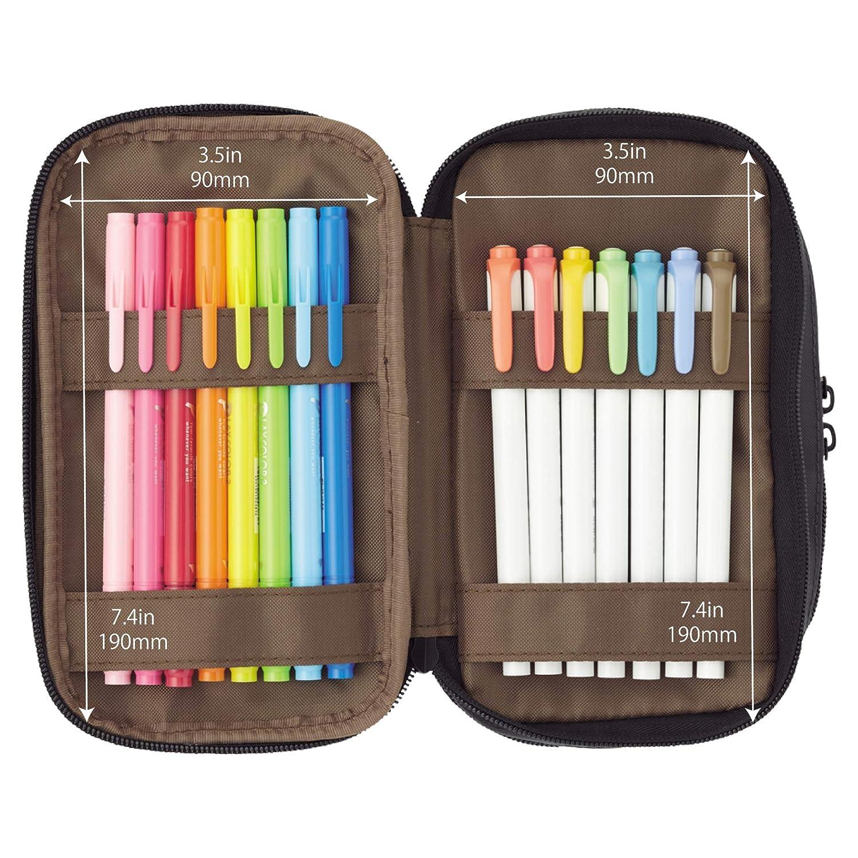 7.9 x 3.5 x 4.7 inches A7556-124 Coral LIHIT LAB Triple Zipper Pen Case