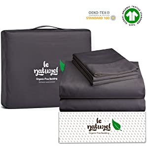 "Le Naturel 300 Thread Count 100% GOTS Certified Organic Cotton Sheet Set Queen Size (Dark Gray) 4 Piece Bedding Sheets,Soft Sateen Weave bedsheets Set,Fits Upto 16"" Deep Pocket Mattress"