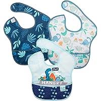 Bumkins Superhaklapp, vattentät, tvättbar, fläck- och luktbeständig, 6-24 mths, 3-pack hjort, dinosaurier, blå tropisk