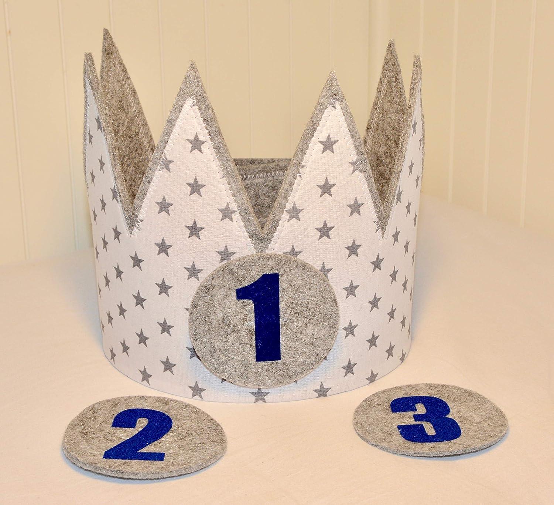 Der Wollprinz Geburtstagskrone, Krone, Kinder Geburtstag-Krone Kinderkrone Geburtstagskrone, Stoffkrone Weiss/Grau