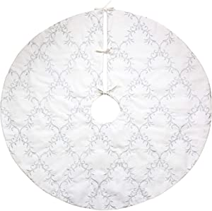 Homey COZY 56 inch Large Christmas Tree Skirt,White and Silver Floral Vine Luxury Embroidered Velvet Christmas Decoration - Holiday Wreath