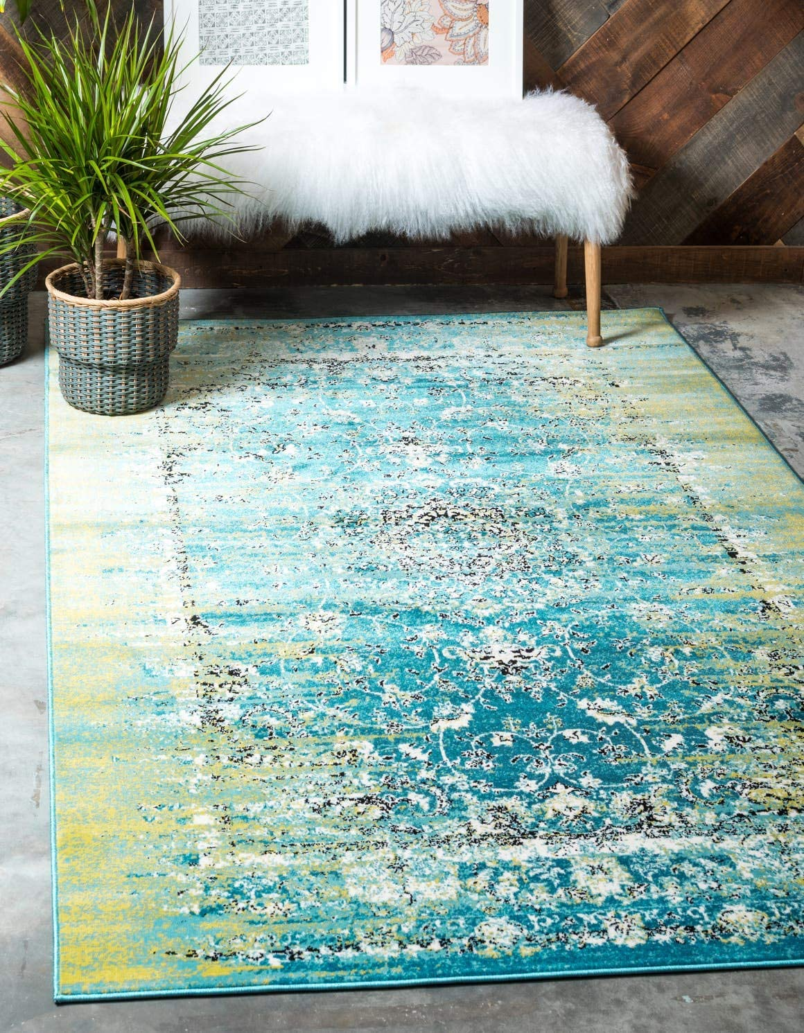Unique Loom Imperial Collection Modern Traditional Vintage Distressed Blue Area Rug 8 0 x 11 6