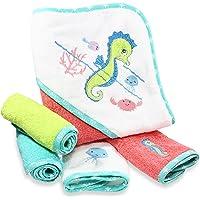 Spasilk 100% Cotton Hooded Terry Bath Towel with 4 Washcloths, Aqua Seahorse
