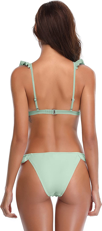 SHEKINI Womens One Off-Shoulder Ruffle Flounce Two Piece Bikini Swimsuit