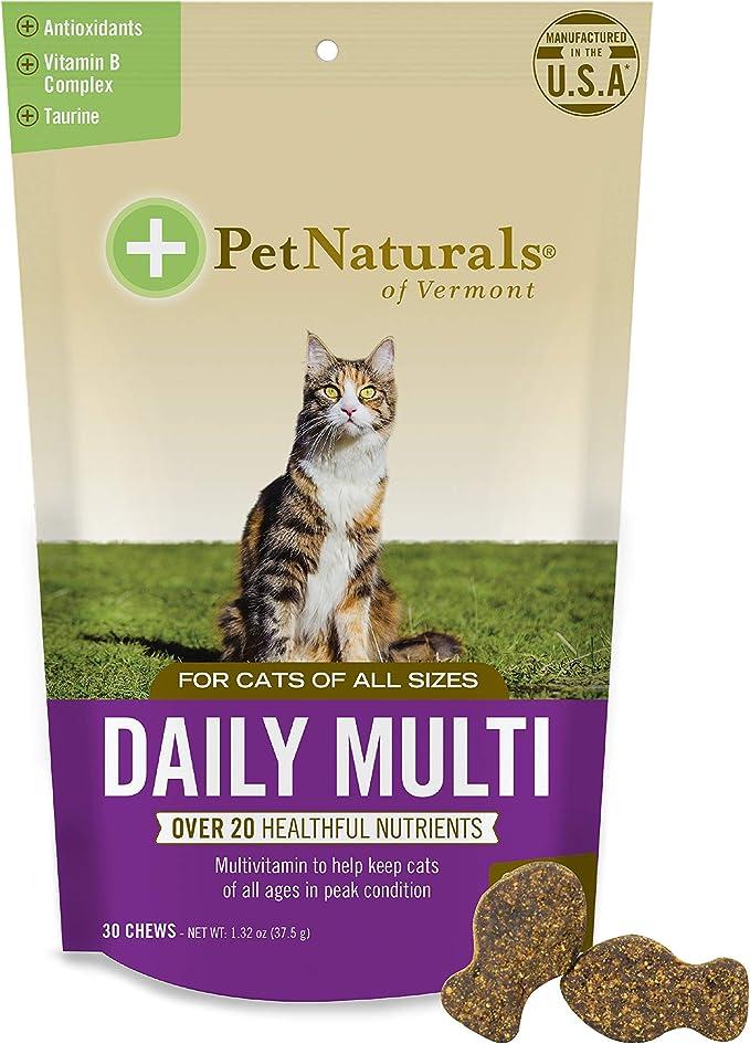 Pet Naturals of Vermont - Multi Diario para Gatos, Fórmula multivitamínico Diario con Taurina, Arginina y Biotina, 30 Masticables con Sabor a Pescado: Amazon.es: Productos para mascotas