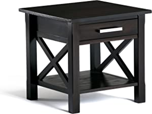 Simpli Home 3AXCRGL002 Kitchener Solid Wood 21 inch wide Square Contemporary End Side Table in Dark Walnut Brown