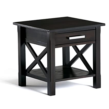 Simpli Home Kitchener Solid Wood End Table, Dark Walnut Brown