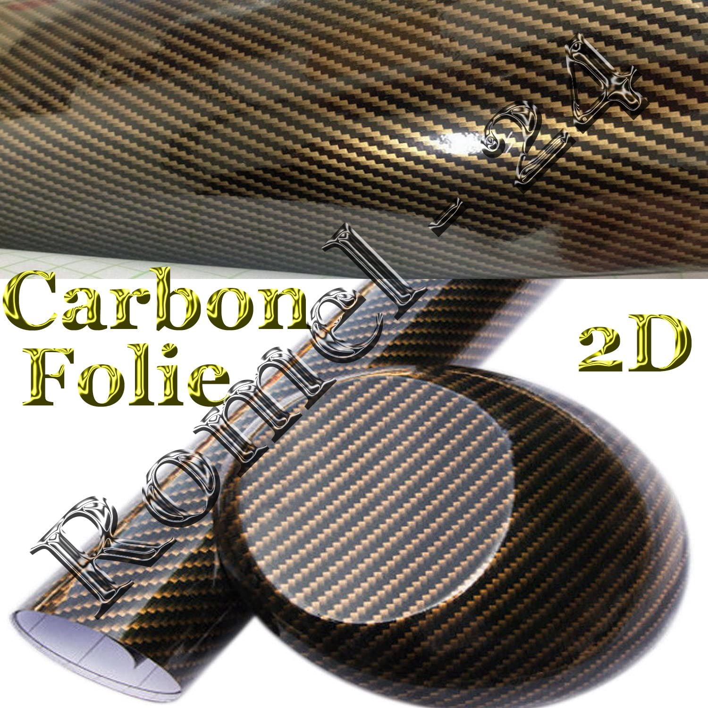 Romel24 19 71 M 30cm X 152cm Folie Selbstklebend Hochglanz LuftkanÄle Carbon 2d Schwarz Gold Auto
