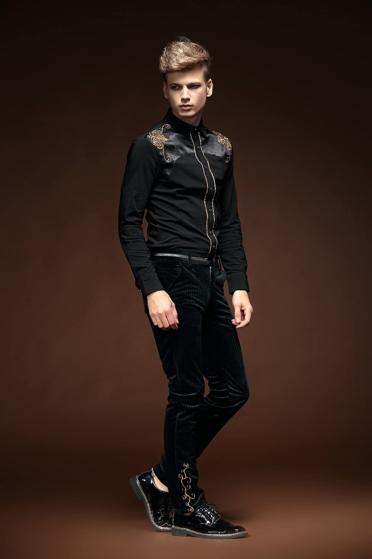FANZHUAN Uomo Camicia Nera per Camicia Abito Camicia Camicia Uomo XS Slim