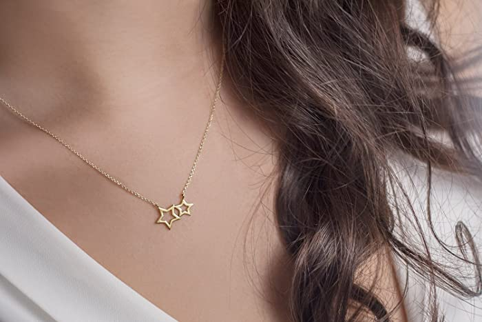 27911fcec163f8 Image Unavailable. Image not available for. Color: Double Star Pendant, 9K,  14K, 18K Gold Necklace ...