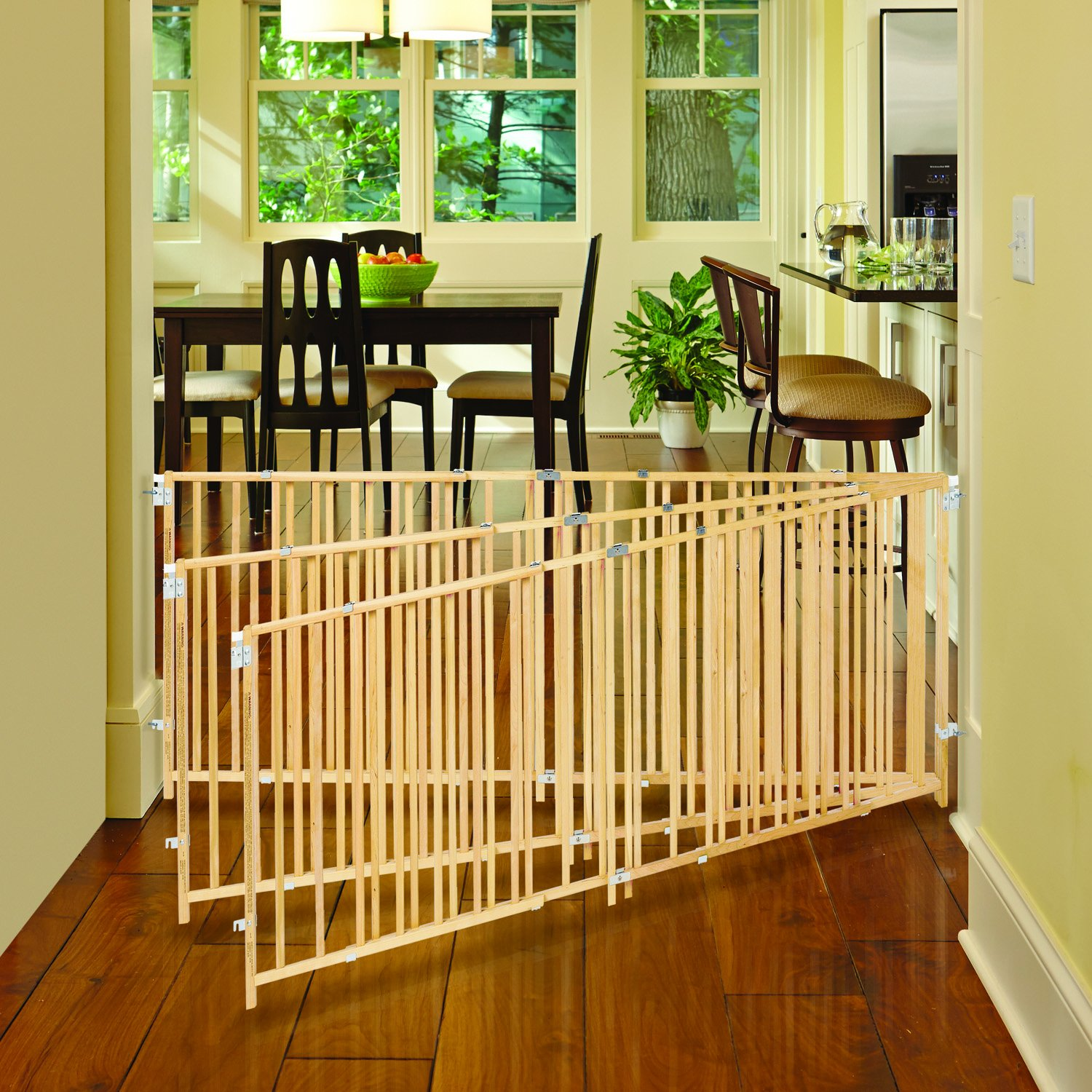 ''Extra-Wide Swing Gate'' by North States: Great for extra-wide openings, with no threshold and one-hand operation. Hardware mount. Fits openings 60'' to 103'' wide (27'' tall, Natural wood) by North States (Image #6)