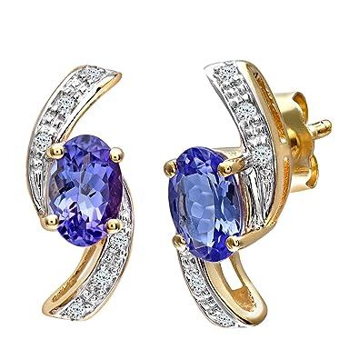 Naava Women's 9 ct Yellow Gold Tanzanite and Diamond Cluster Earrings 7FTAt8p