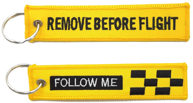 FOLLOW ME 5 portachiavi in tessuto giallo ricamati con anello REMOVE BEFORE FLIGHT