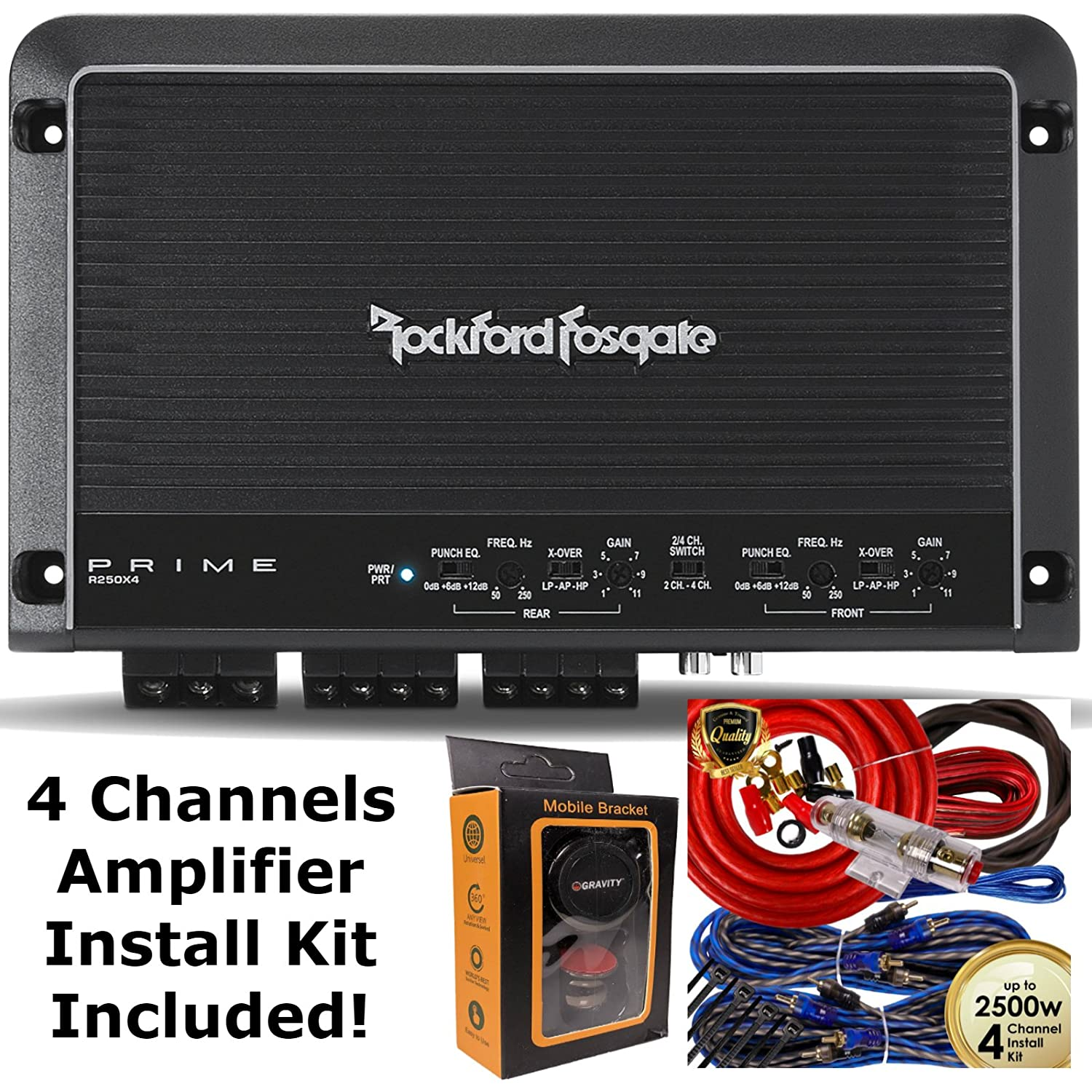 On Sale Rockford Fosgate R250x4 250 Watt Rms 4 Channel Car Amplifier How To Install A Amp Wire Kit