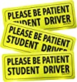 """Set of 3 """"Please Be Patient Student Driver"""" Safety Sign Vehicle Bumper Magnet - Reflective Vehicle Car Sign Sticker Bumper for New Drivers"""