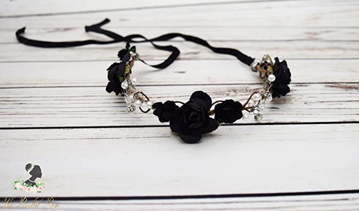 089ce0cd63781 Amazon.com  Handcrafted Black Pearl Flower Crown - Black Rose Wedding  Wreath - Black Flower Girl Hair Accessory - Black Bridal Flower Crown -  Adult Halo  ...