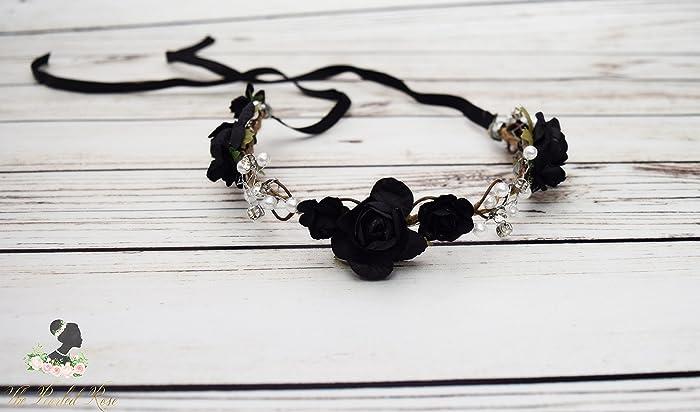 Amazon.com  Handcrafted Black Pearl Flower Crown - Black Rose Wedding  Wreath - Black Flower Girl Hair Accessory - Black Bridal Flower Crown -  Adult Halo  ... 31dbd12033f