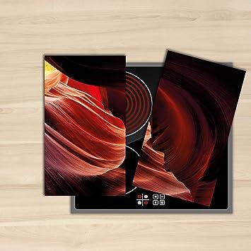Decoración del hogar | placa de cocina (4 unidades, 2 x 30 X52 cm inducción vitrocerámica pantalla, cristal endurecido para cocina estufa ...