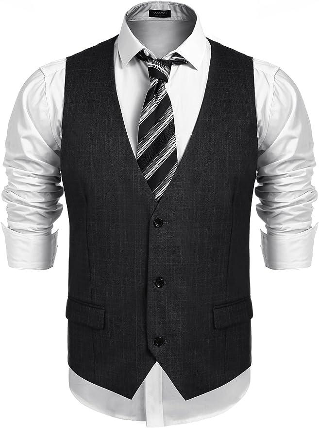 JYDX Mens Business Suit Vest Slim Fit Notch Lapel Wool Tweed Waistcoat for Wedding