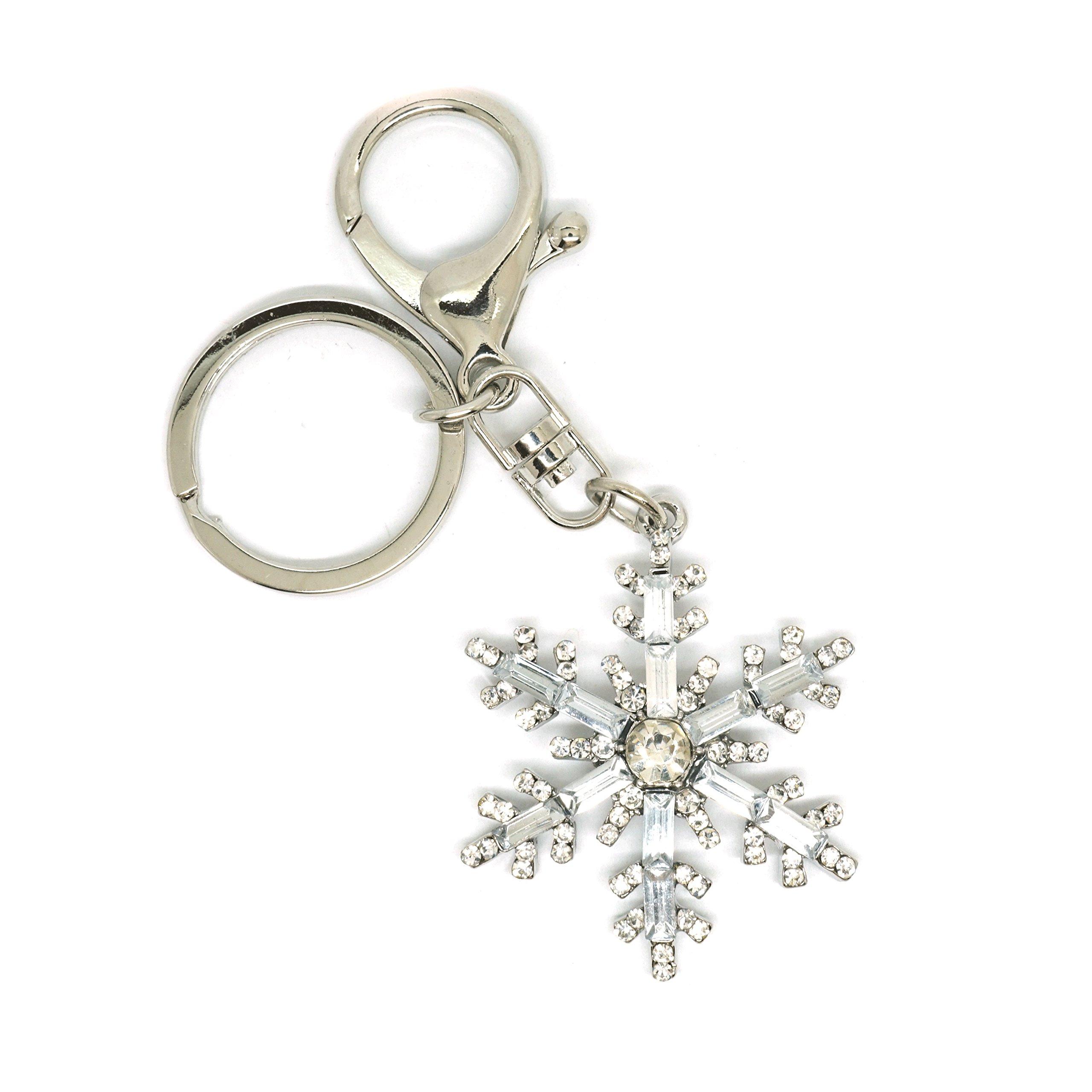 Teri's Boutique Winter Snowflake Crystal Clear Rhinestone Women Fashion Charm Keychain (Silver)