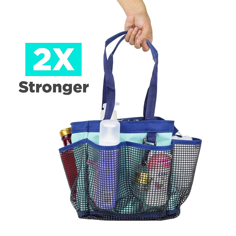 Mesh Shower Caddy Tote Portable Bag Bathroom for College Dorm Camping Gym Blue