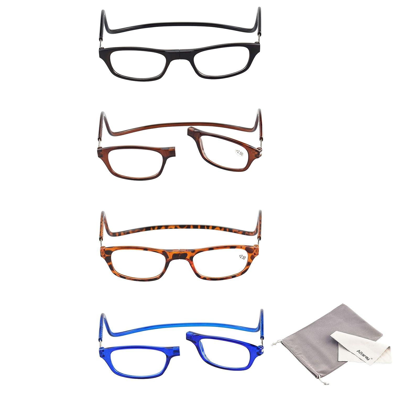 9eae8f0becc9 Altaray 4 pairs Reading glasses Mens Womens Magnetic Progressive Designer  Vintage Adjustable Reading glasses with case (1.50)  Amazon.co.uk  Health  ...