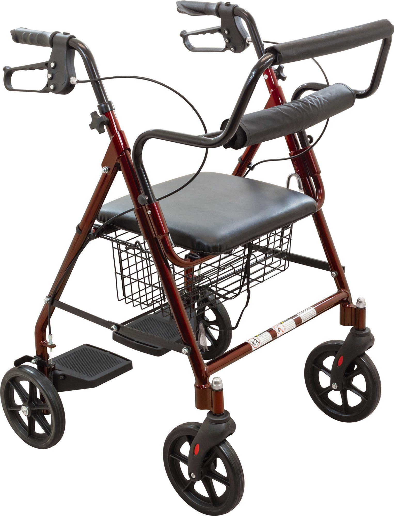Roscoe Transport Rollator with Padded Seat, Burgundy, Easy Folding System, 8 Inch Wheels, Weight Capacity: 250 Pounds