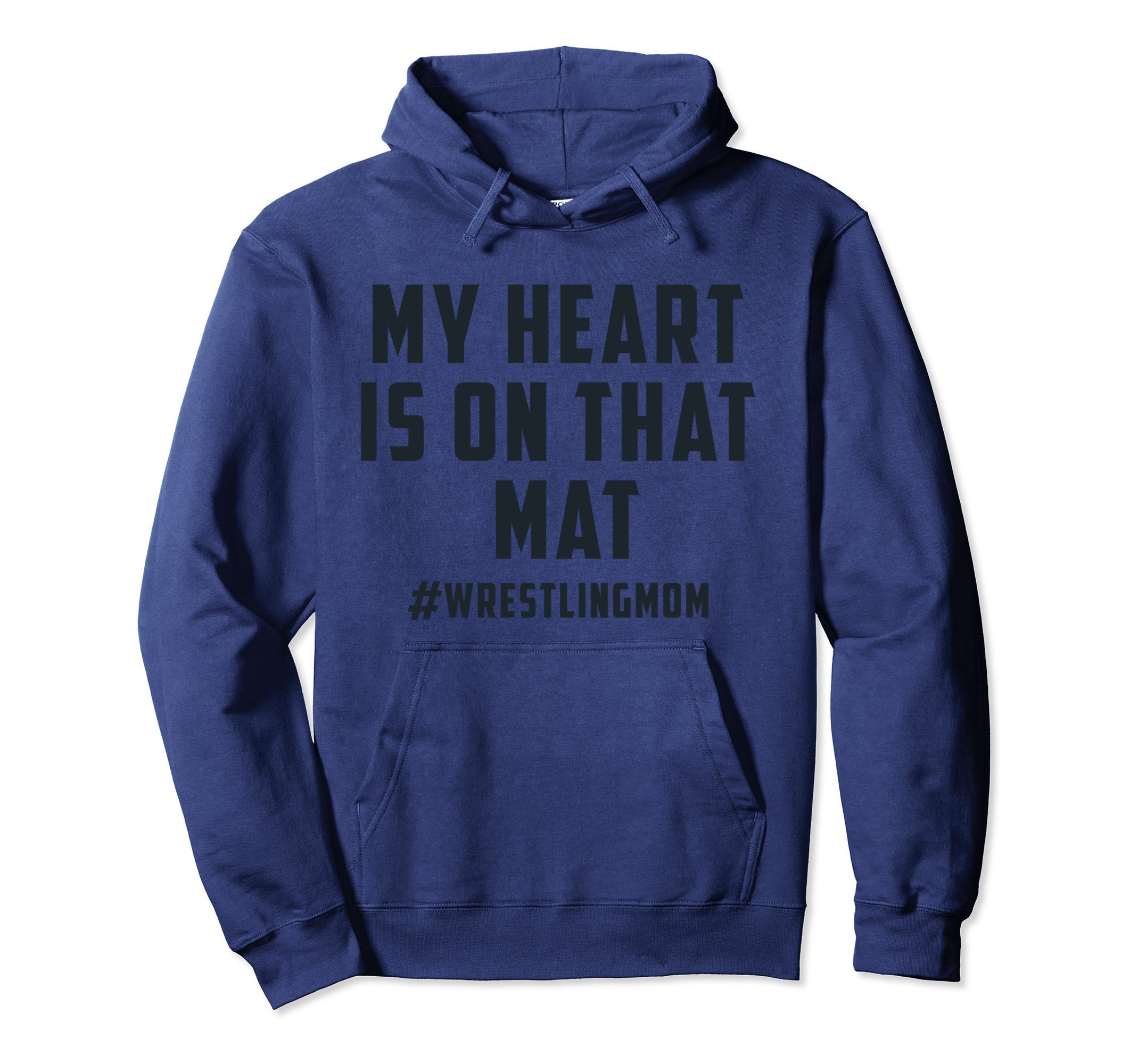 Unisex My Heart Is On That Mat Wrestling Mom Hoodie Large Navy