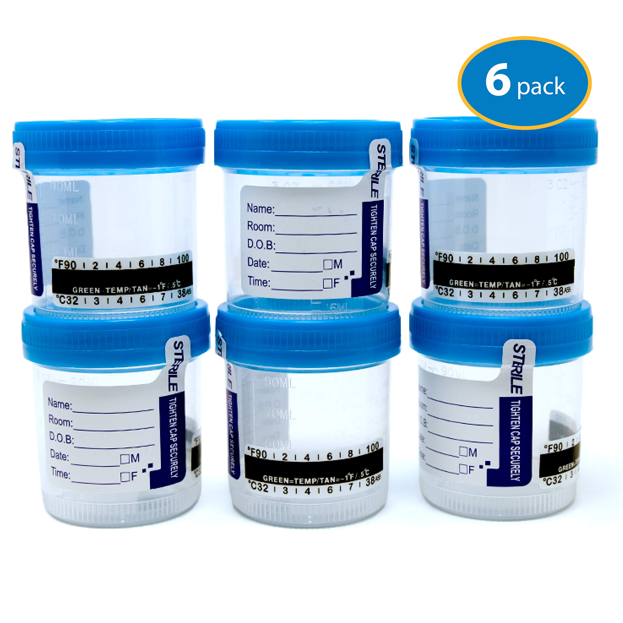 Sterile Urine Specimen Collection Cups with Temperature Strip and Lid, 90ml (6 Pack)