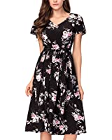 Noctflos Women's Floral Chiffon V-neck Midi Summer Casual Church Dress