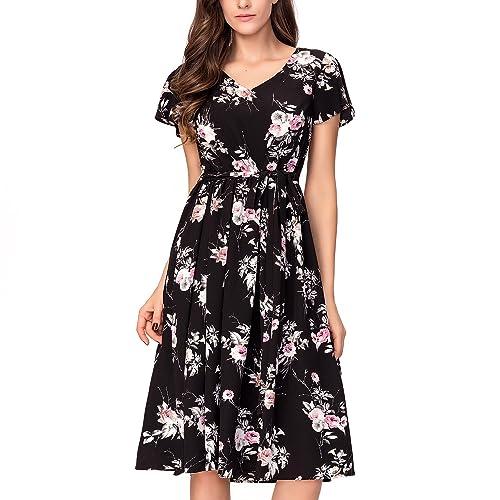 Noctflos Women's Floral Chiffon V-neck Midi Summer Casual Dress Short Sleeves