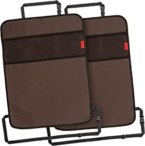 Heavy Duty Kick Mats Back Seat Protector (2 Pack) - The Sag Proof, Waterproof, Odor Proof Car Back Seat Cover for Kids Who Make Big Messes   3 Reinforced Mesh Storage Pockets, Premium Oxford Fabric