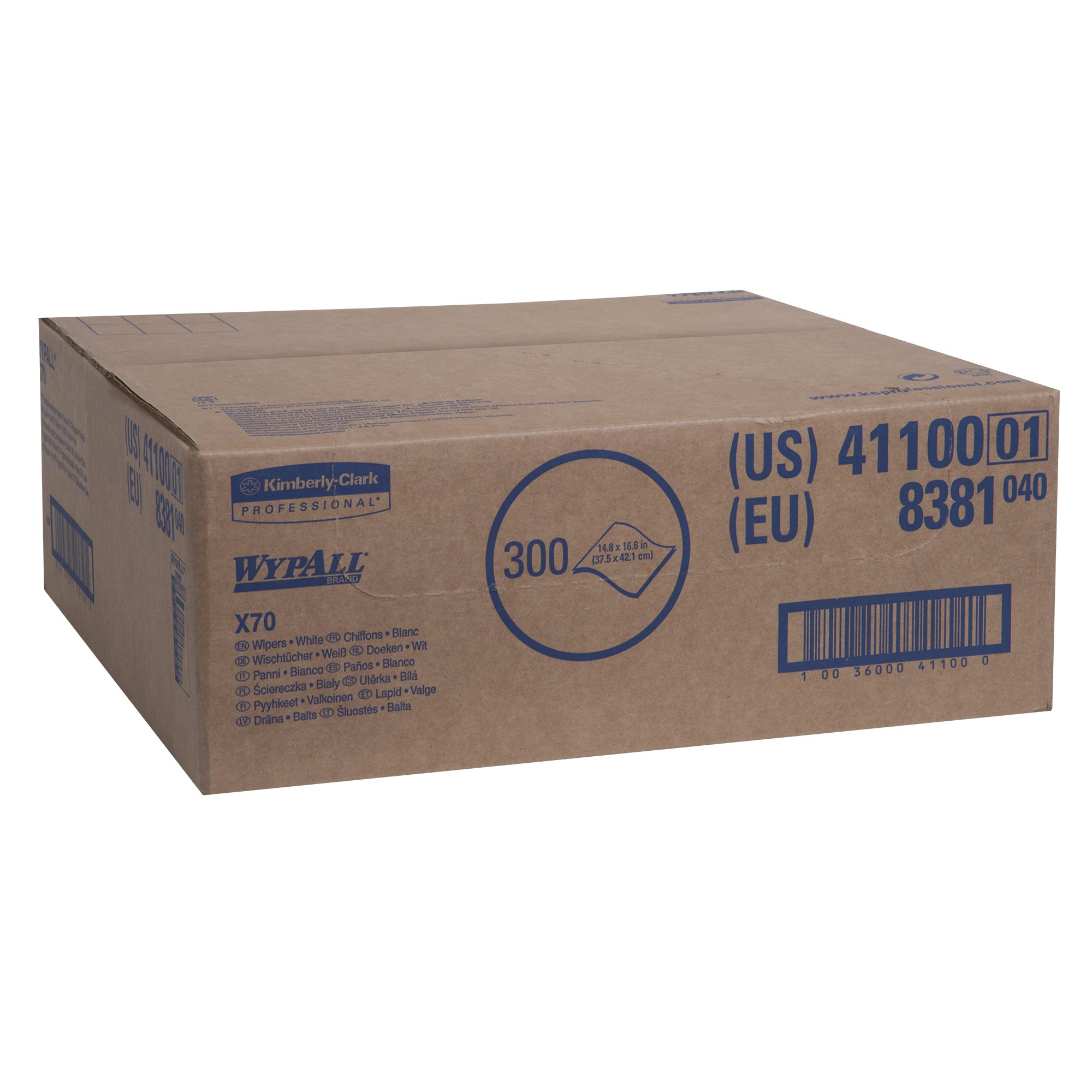 WypAll X70 Extended Use Reusable Cloths (41100), Flat Sheet Box, Long Lasting Performance, White, 1 Box, 300 Sheets