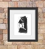 Charcoal Figure Drawing Art Print of Erotic Nude
