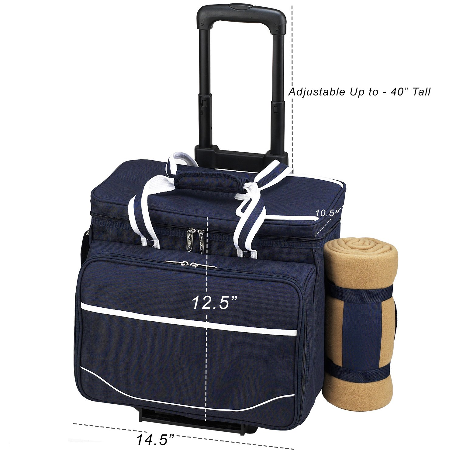 Picnic at Ascot Equipped Picnic Cooler On Wheels With Blanket, Navy White With Gingham