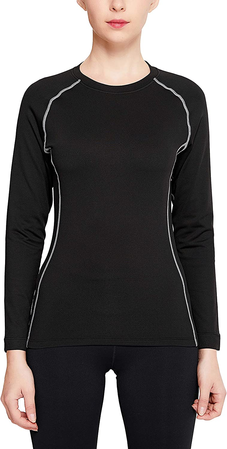 MANCYFIT Womens Thermal Tops Fleece Lined Shirt Long Sleeve Base Layer