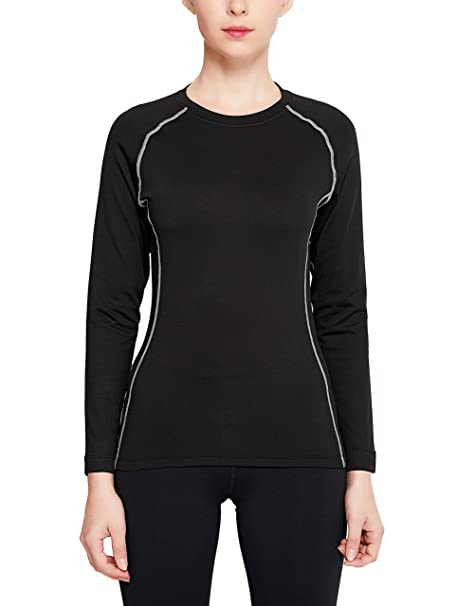 62b4e6ee90b701 Women s Fleece Lined Thermal Top Women Winter Gear Compression Shirt  Baselayer Long Sleeve Shirts (Black