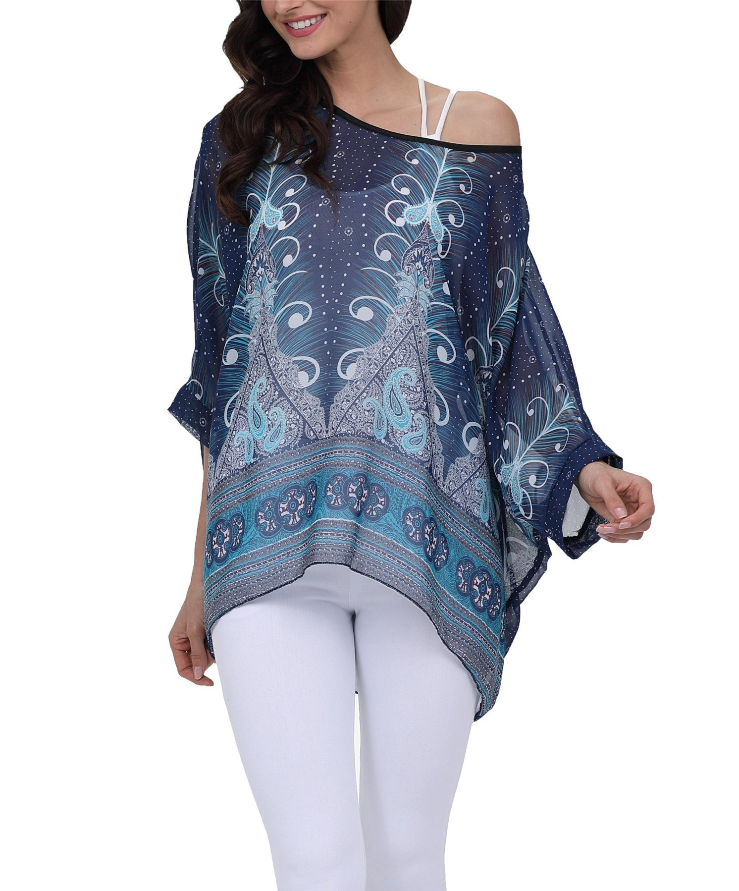 Vanbuy Women Summer Floral Printed Batwing Sleeve Top Chiffon Poncho Casual Loose Blouse Z91-4295