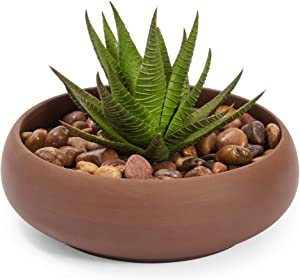 Juvale Brown Ceramic Planter, Flower Pot with Drainage Hole (6.8 x 2.2 Inches)