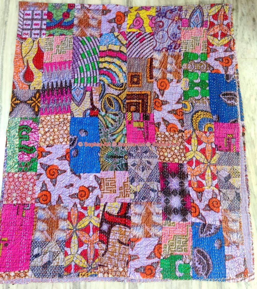 Black Patchwork Kantha Quilt Hand Embroidered Kantha Blanket Vintage Cotton Sari Kantha Bedspread Handmade Queen Size Kantha Throw