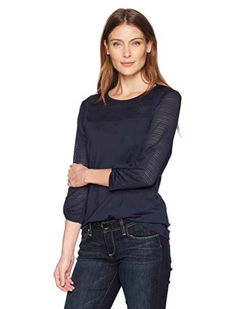 7014c7d2bbe15c Haggar Women's Boat Neck Tee with Mesh Stripe: Amazon.ca: Clothing &  Accessories