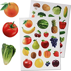 Royal Green Fruits & Vegetables Stickers for Arts and Crafts. Permanent Adhesive Sticker Labels for Teachers Classroom Learning - 190 Pack