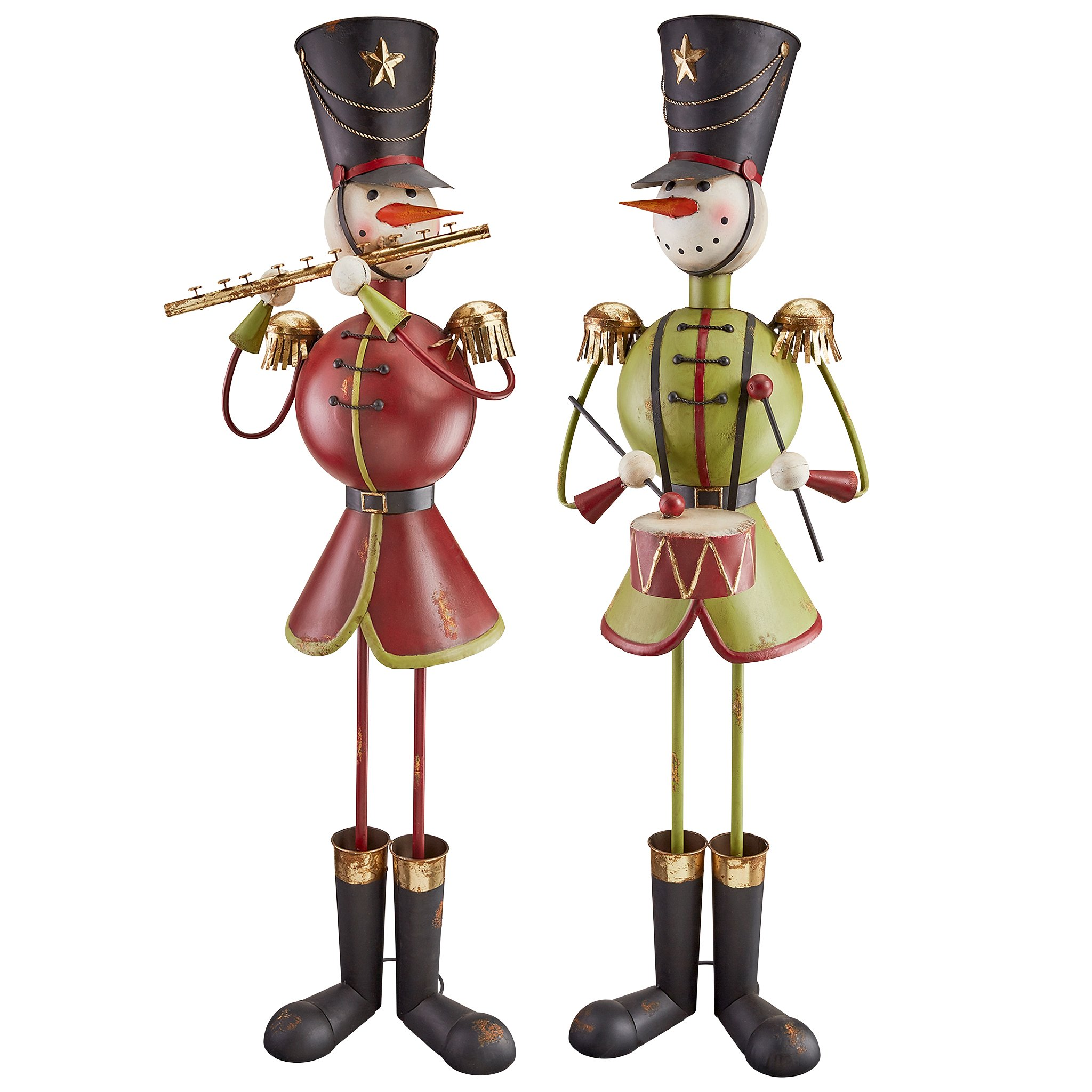 Design Toscano North Pole Snowman Band Metal Holiday Statues (Set of 2)