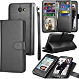 Galaxy J7 Sky Pro / J7 V Case, J7 Prime / J7 Perx Wallet Case, Samsung Halo / J7 2017 PU Leather Case, Tekcoo Credit Card Slots Carrying Folio Flip Cover [Detachable Magnetic Case] & Kickstand - Black