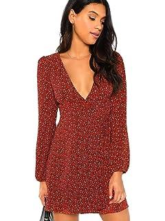 fb4dc556d39f SheIn Women s V Neck Leopard Print Long Sleeve Split Tie-Waist Wrap Shift  Dress