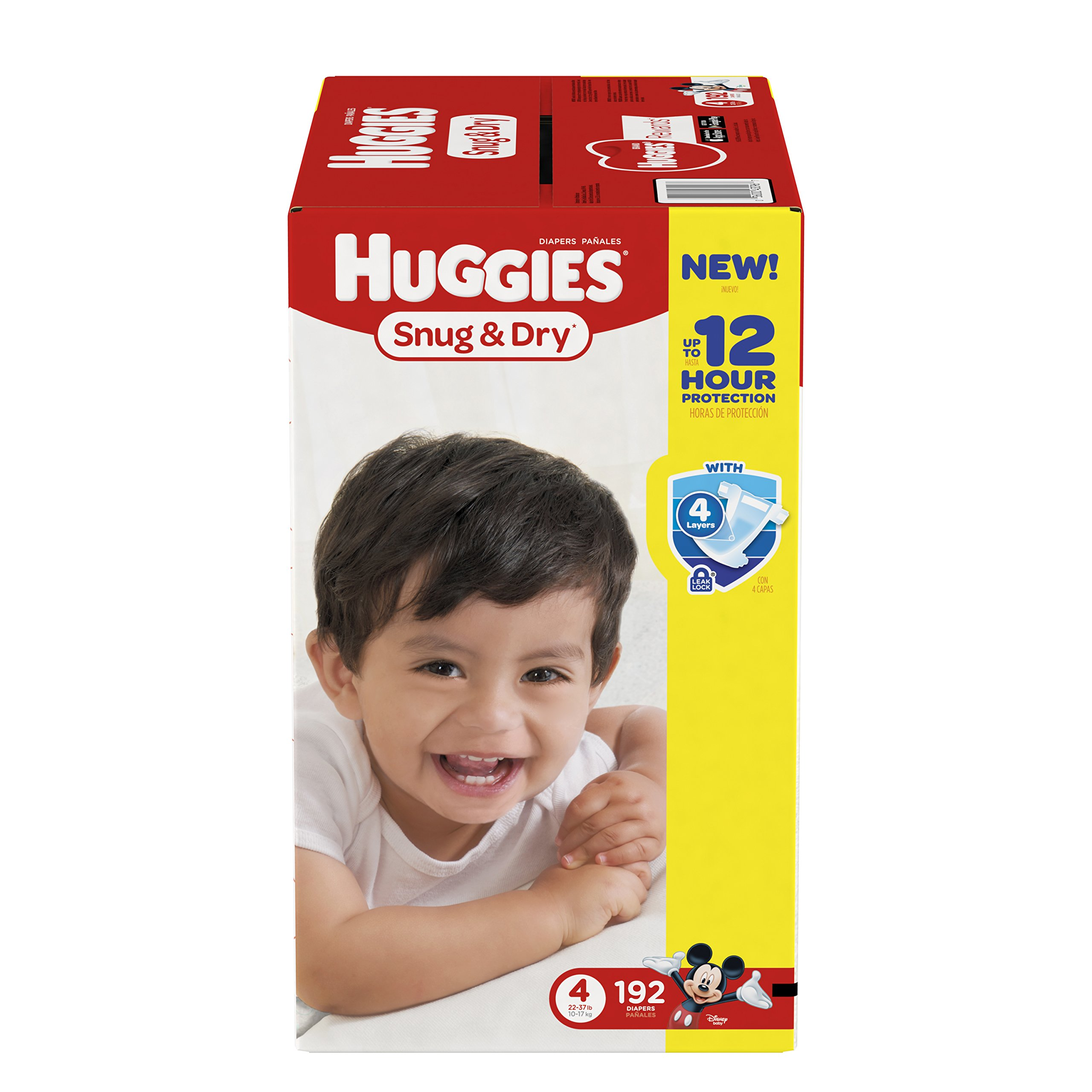 HUGGIES Snug & Dry Diapers, Size 4, for 22-37 lbs., One Month Supply (192 Count) of Baby Diapers, Packaging May Vary