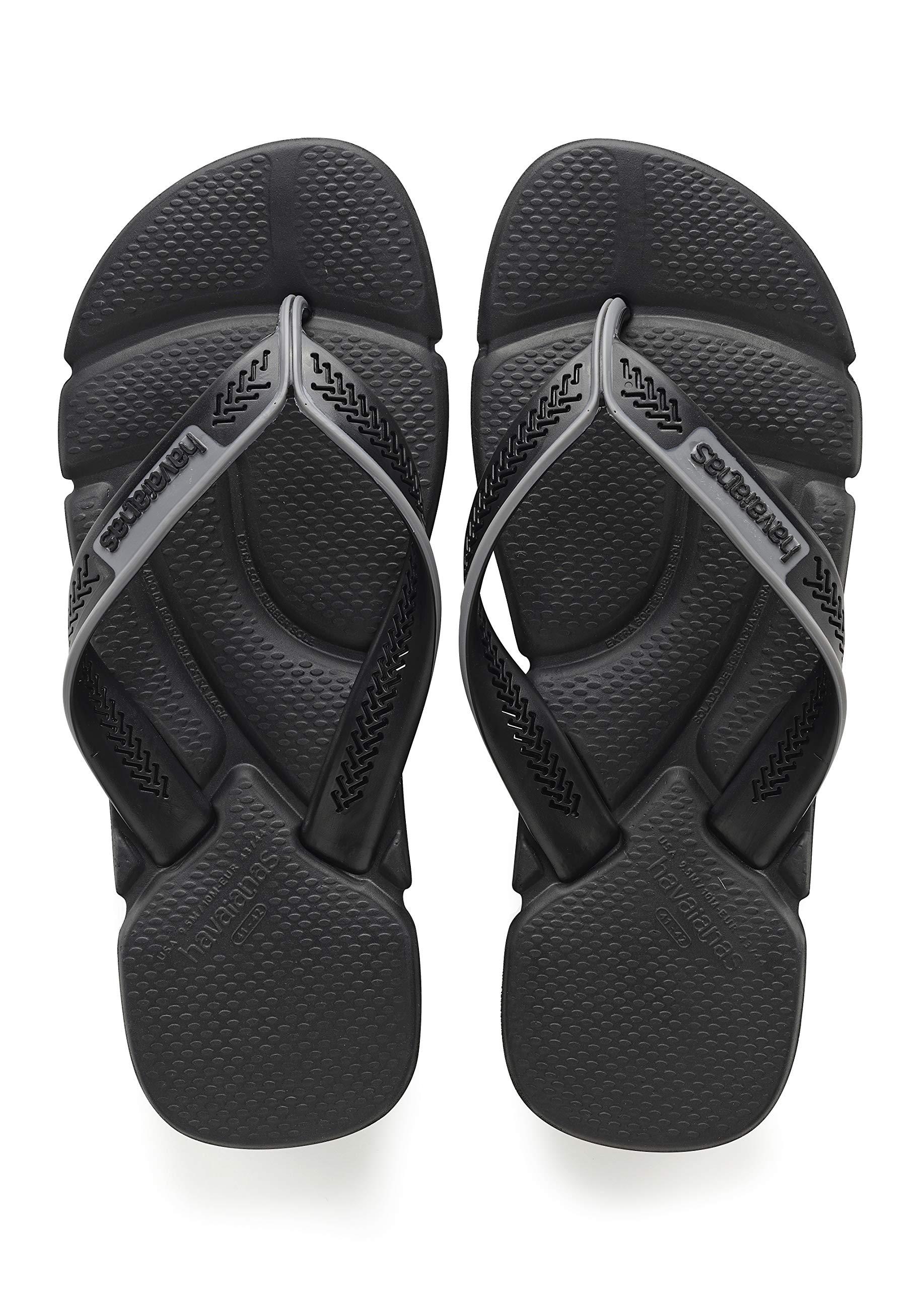 Havaianas Men's Power Flip Flop Sandal,Black/Steel Grey, 41/42 BR(11-12 M US Women's / 9-10 M US Men's)