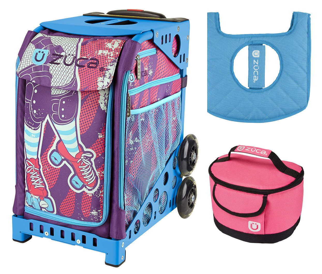 Zuca Sport Bag - Roller Girl with Gift Lunchbox and Seat Cover (Blue Frame)