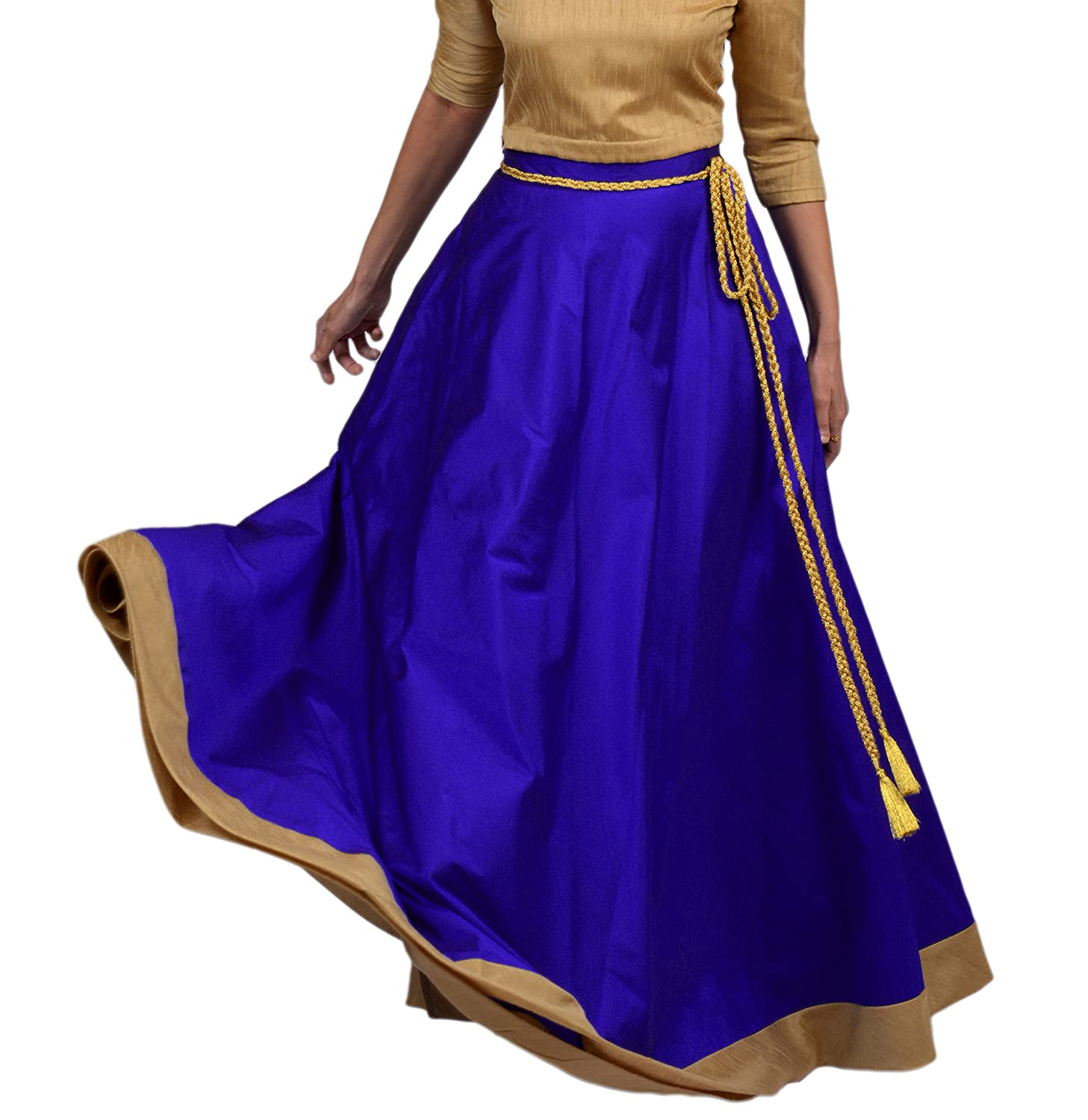 0de894f974 Blue Colored Taffeta Silk Wrap Around Skirt with Golden Border and Golden  Dori (String) Belt Maxi Length Full Circle Skirt; Lined; Buttonholes  present to ...